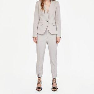 NWT Zara Basics Tan Textured Weave Trousers